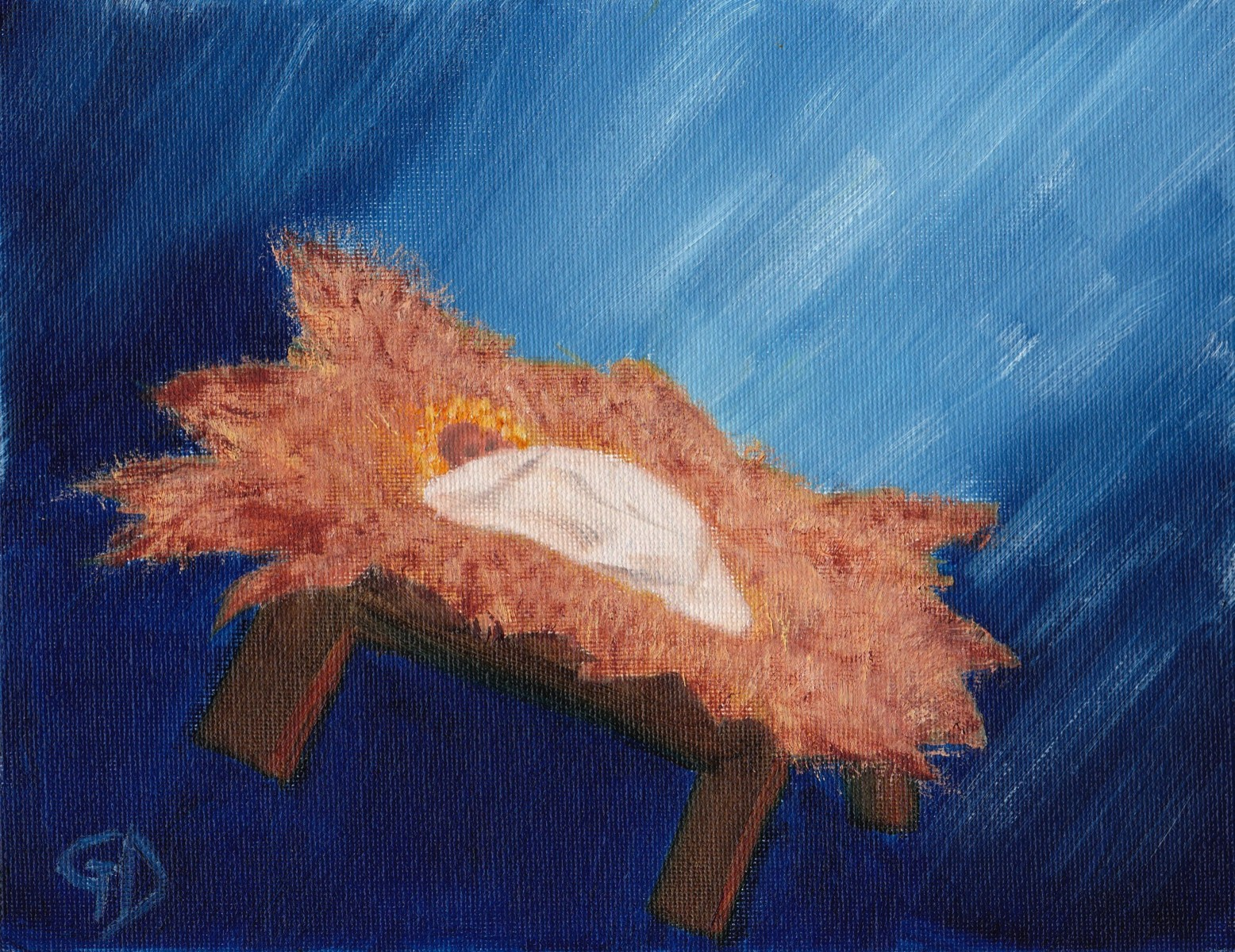 "Baby in a manger.jpg - Baby in a Manger Oil on canvas, (7 x 9"") 178 x 229 mm Scanned 16 June 2014"