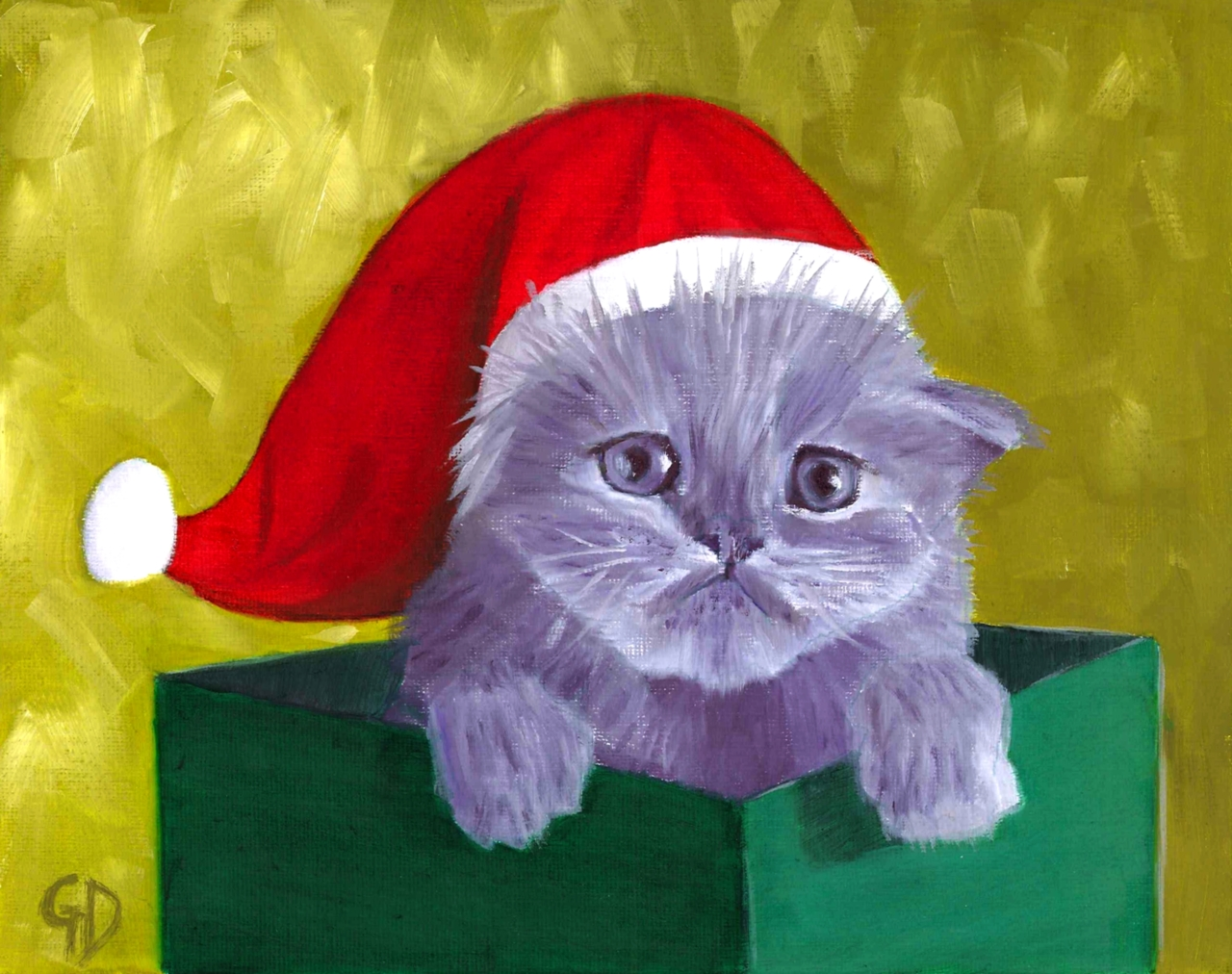 Christmas Cat.jpg - Christmas Kitty Oil on canvas - 20 x 25 cm Scanned 22 August 2012