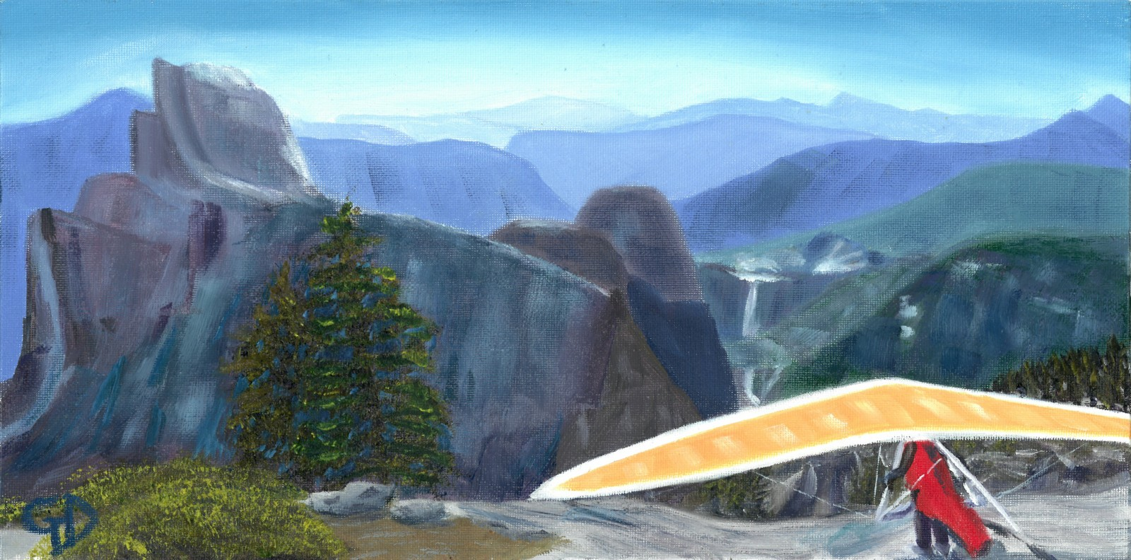 "Glacier Point, Yosemite.jpg - Glacier Point, Yosemite water-soluble oil on canvas board, 8x16"" (203x 406 mm) Completed about January 2017"
