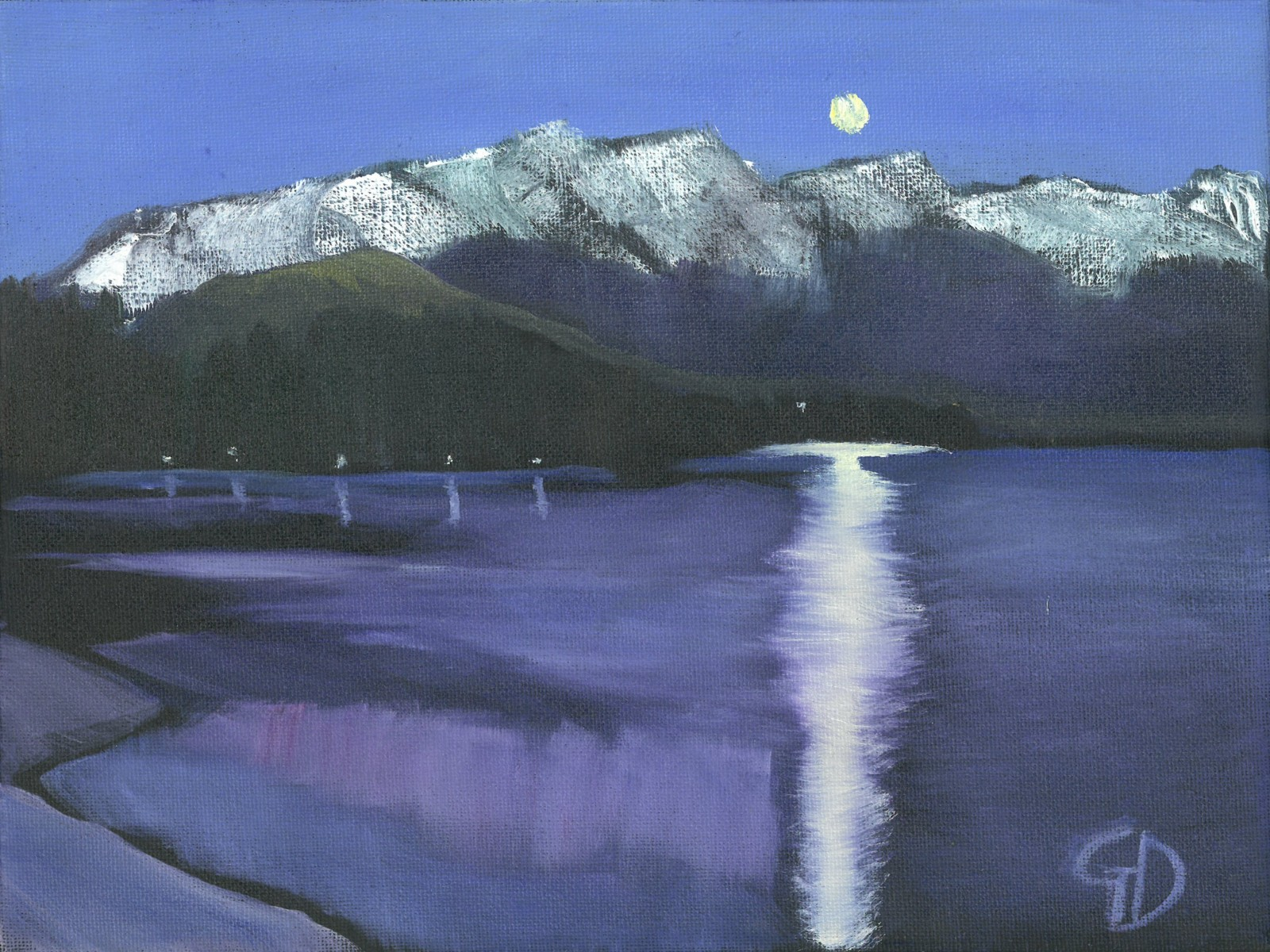 Moon over the Remarkables.jpg - Moon over the Remarkables water-soluble oil on canvas (30.5 x 23 cm) September 2015