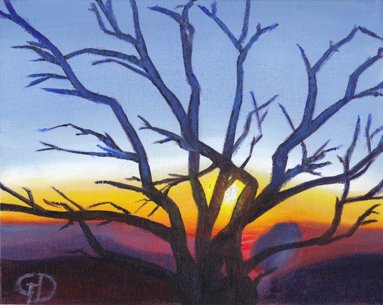"Mount Buffalo Sunset.jpg - Mount Buffalo Sunset Water-soluble oil on canvas, 8 x 10"" (20.3 x 25.4 cm) Completed April 2019"