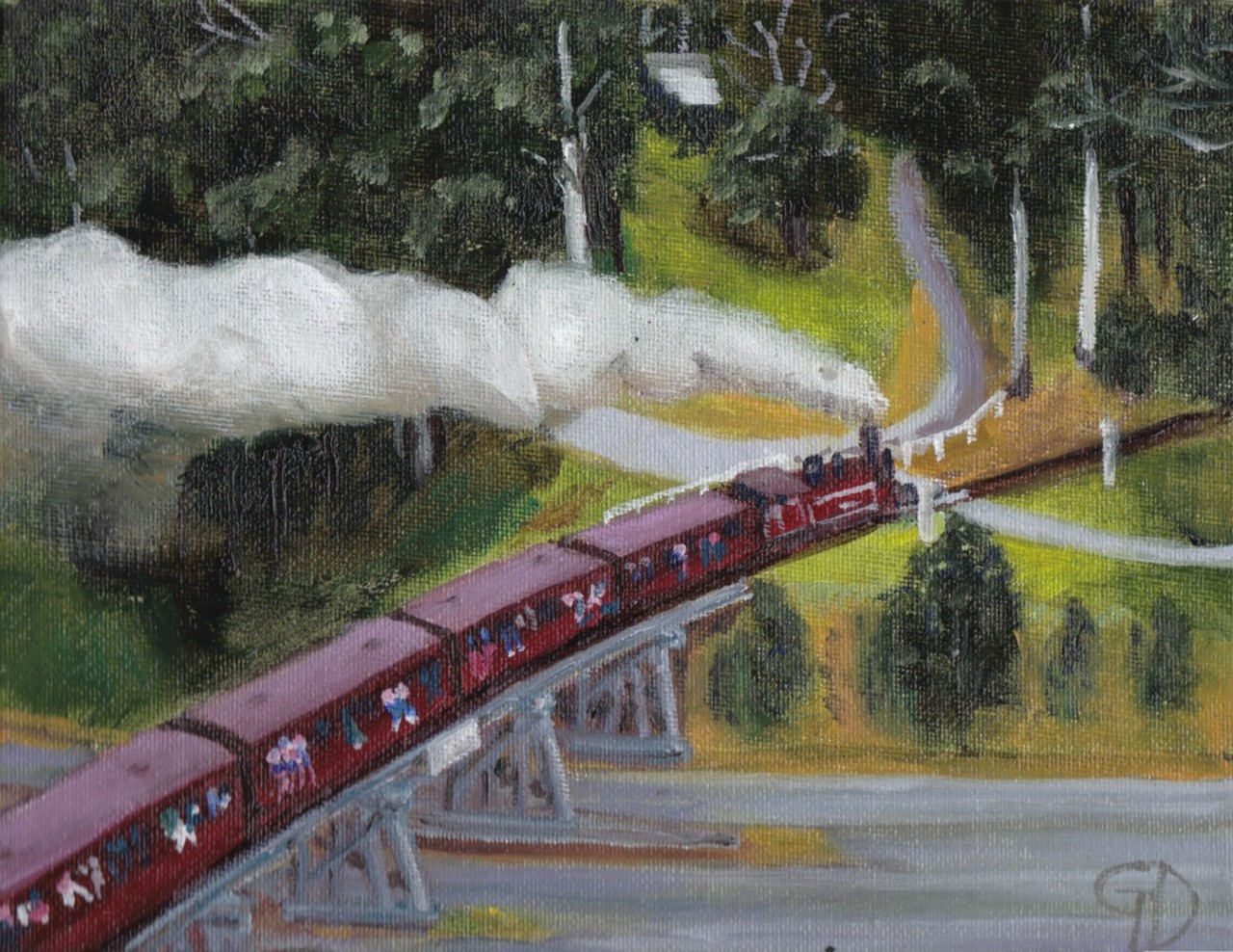"Puffing Billy from above.jpg - Puffing Billy from above Water-soluble oil on canvas board,7 x 9"" (18 x 23 cm) Completed July 2017"