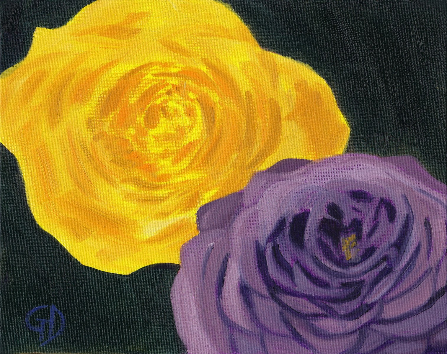 "Purple and yellow roses.jpg - Purple and Yellow Roses Oil on canvas, (8 x 10"") 20.3 x 25.4 cm Scanned 16 June 2014"