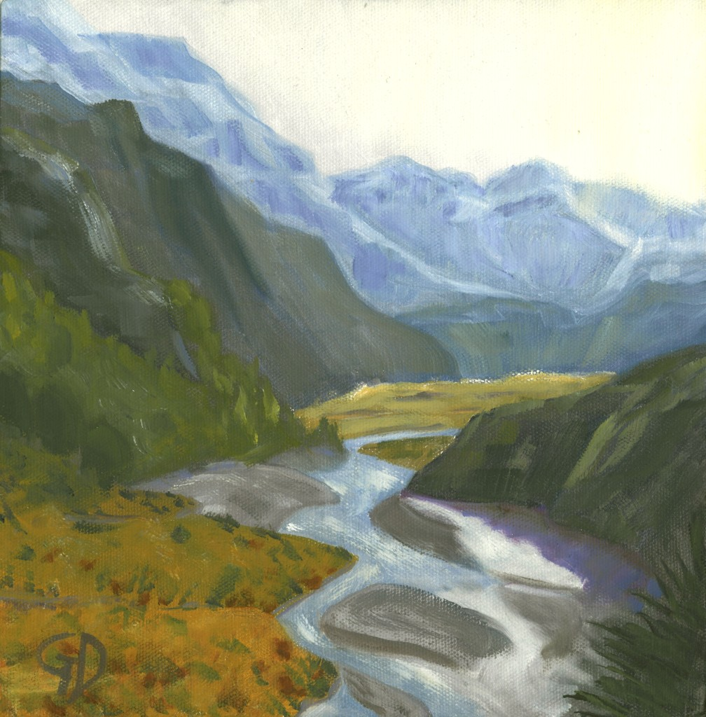 Rees Valley, NZ.jpg - Rees Valley, NZ oil on canvas - Size 25 x 25 cm