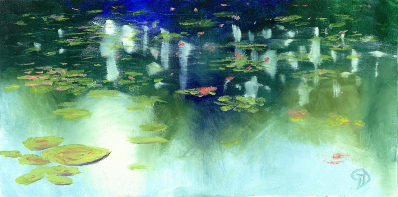 "Waterlilies.jpg - Waterlilies water-soluble oil on canvas board, 10x20"" (254 x 508 mm) Completed about July 2016"