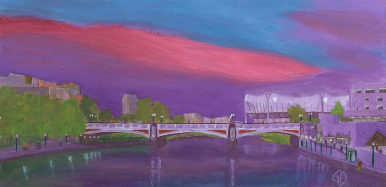 "Yarra bridge.jpg - Yarra with the MCG lights oil on canvas - 10x20"" (254 x 508 mm) Scanned 13 February 2013"